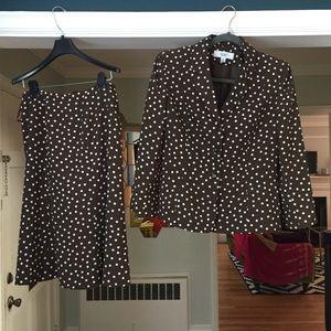 2 piece vintage Suit Chocolate Brown polka dot 8